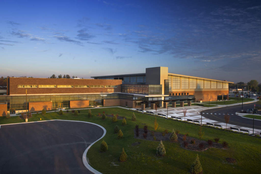 Purdue Fort Wayne Student Services Exterior Full Landscape Dusk