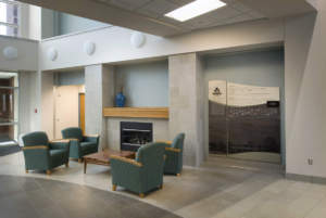 White County Memorial Hospital lobby seating fireplace